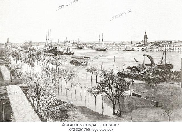 The Guadalquivir river, Seville, Spain, seen here during the floods of 1892. From La Ilustracion Espanola y Americana, published 1892