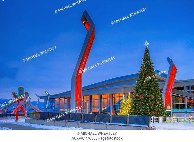 Olympic Cauldron and Christmas tree, Jack Poole Plaza, Vancouver, British Columbia, Canada