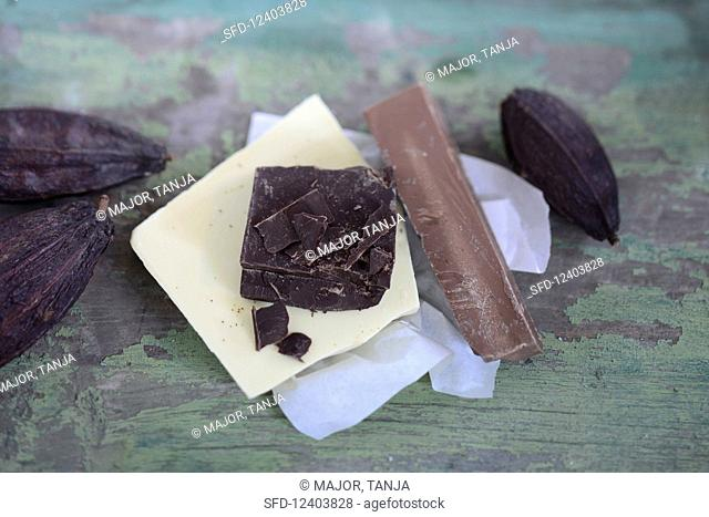 Chocolate and cocoa pods