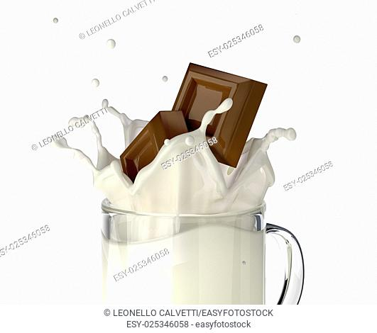 Two chocolate blocks falling into a glass mug full of fresh milk, splashing. close up view, On white background, with clipping path included