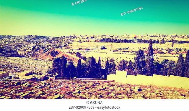 View to Walls of the Old City of Jerusalem, Instagram Effect