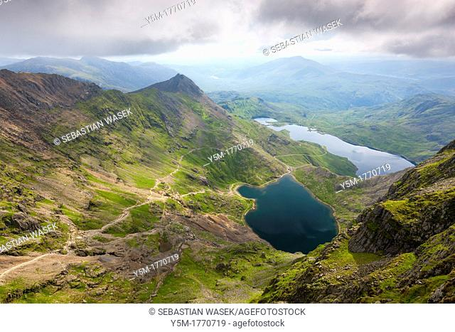 View from Mount Snowdon over Glaslyn and Llyn LLydaw, Snowdonia National Park, Wales, UK, Europe