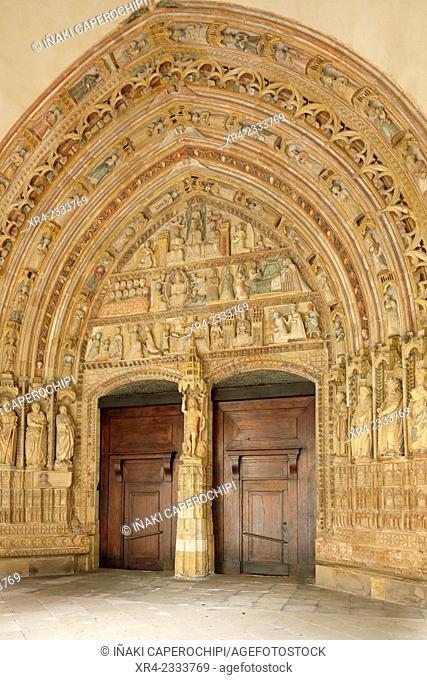 Gothic portal, Iglesia de Santa Maria, Deba, Gipuzkoa, Basque Country, Spain