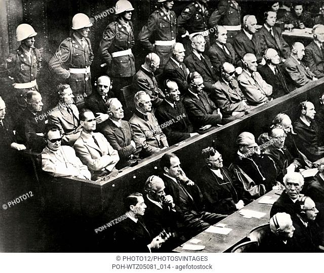 Nuremberg trial (1945-1946).  The 21 accused, during the reading of the charges against them.  1st rank, l. to r..: Göring, Hess, Ribbentrop, Keitel