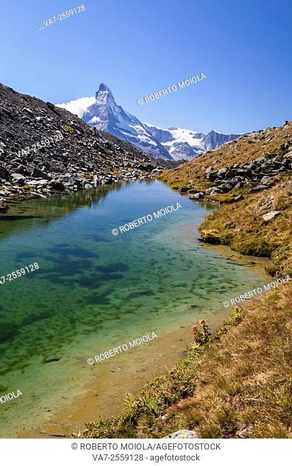 The Matterhorn at dawn seen from Stellisee. Zermatt Canton of Valais Pennine Alps Switzerland