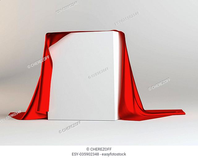 Red Cloth Covered White Cube