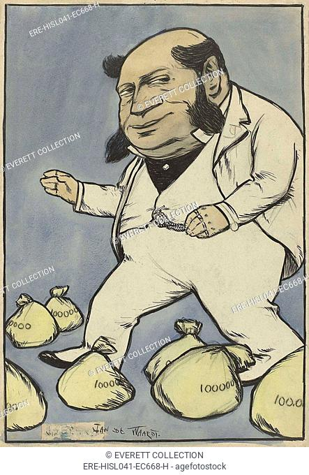 Capitalist, by Jan de Waardt, 1880-99, Dutch watercolor painting, pen & ink drawing. Caricature of a capitalist with a thick, large head