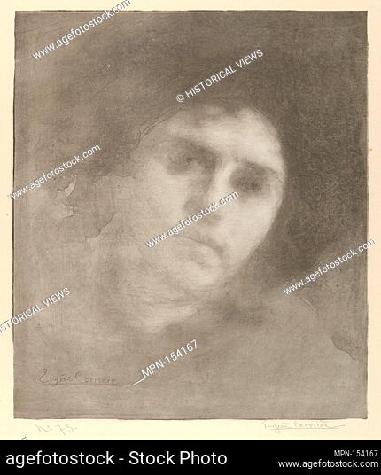 Mme Eugène Carrière (Tête / Head). Series/Portfolio: L'Estampe originale, Album IV; Artist: Eugène Carrière (French, Gournay 1849-1906 Paris); Publisher: André...