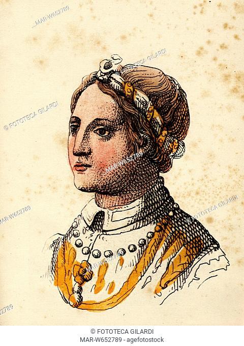 VISCONTI di Milano. Principessa Isabella di Francia (1348-1372), prima moglie di Giovanni Galeazzo (1351-1402) futuro Duca di Milano