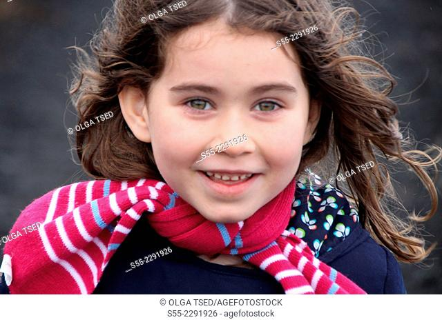 Young girl smiling.La Palma, Canary Islands, Spain