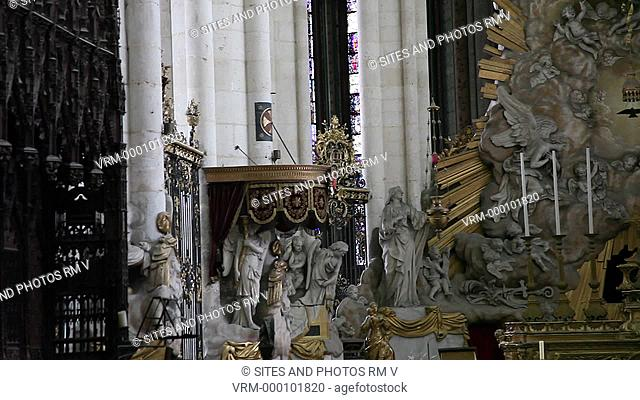 PAN. CU. Interior: The Baroque-style High Altar was designed by Pierre Joseph Christophle in the late 18th century. The Cathedral is in the High Gothic or...