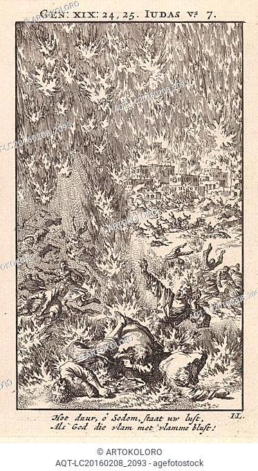 Destruction of Sodom, Jan Luyken, wed. Pieter Arentsz & Cornelis van der Sys (II), 1712