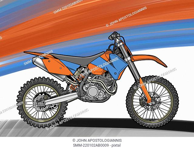 Red and blue motocross motorbike