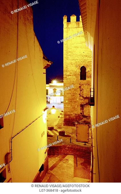 Narrow streets of Carmona at night. Andalucia. Spain
