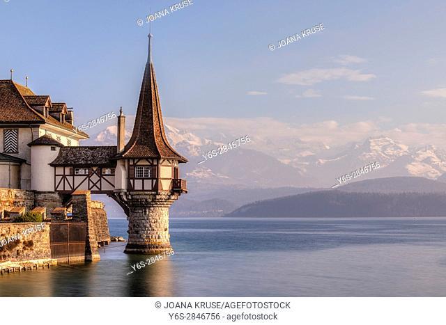 Schloss Oberhofen, Thunersee, Berner Oberland, Bern, Switzerland, Europe