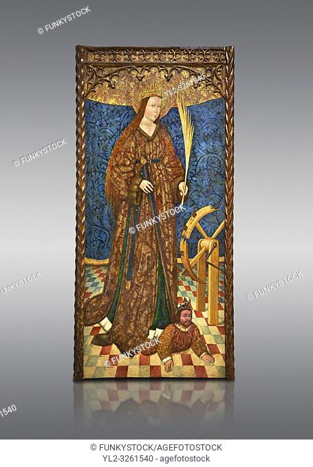Gothic altarpiece of Saint Catarina (Catherine), 3rd quarter of the 15th century, tempera and gold leaf on for wood. National Museum of Catalan Art, Barcelona
