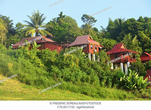 Traditional houses, Ratanakiri Province, Cambodia, South East Asia, Asia