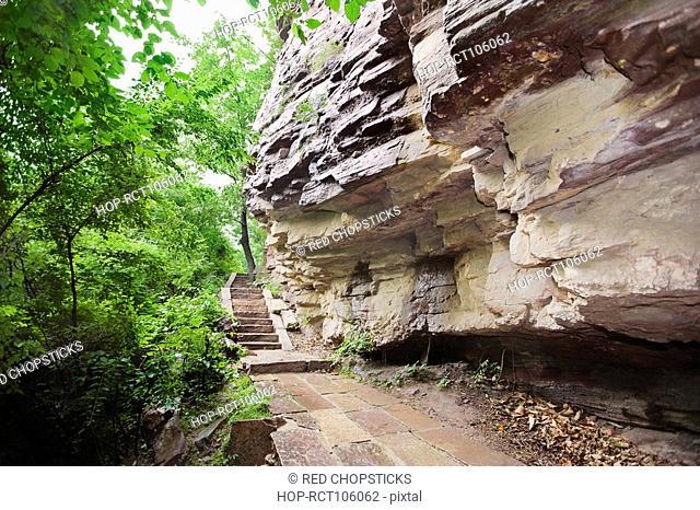 Steps near a rock, Taihang Grand Canyon, Linzhou, Henan Province, China
