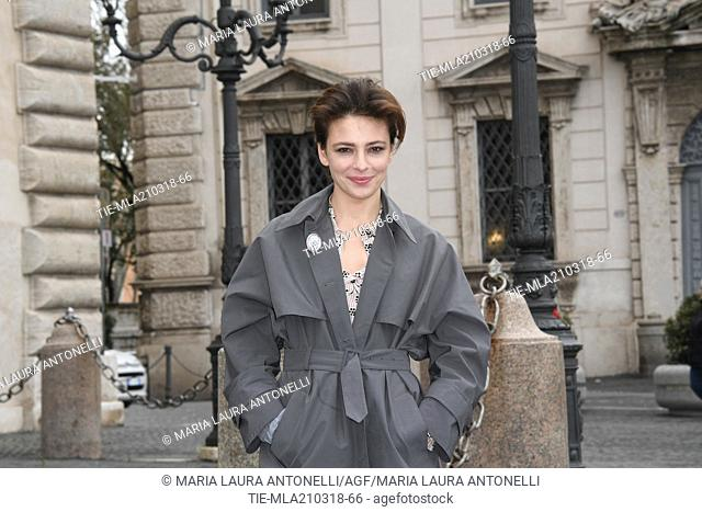 "Jasmine Trinca with the brooch """" Dissenso comune """" a poster signed by 124 actresses and entertainment workers against sexual harassment arrives at Quirinale..."