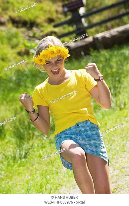 Austria, Salzburg County, Girl laughing
