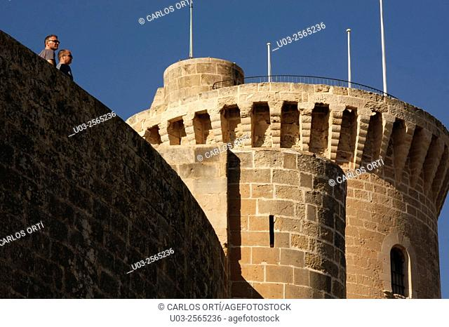 Tourists in the towers of the Castle of Bellver, Palma de Mallorca, Balearic Islands, Spain. Europe