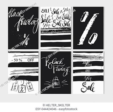 Hand drawn vector abstract Black friday sale cards set collection in black and white colors with rough calligraphy. Black Friday banner,flayer,poster,discounts
