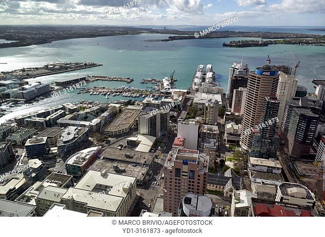 Panorama aerial view of Auckland New Zealand