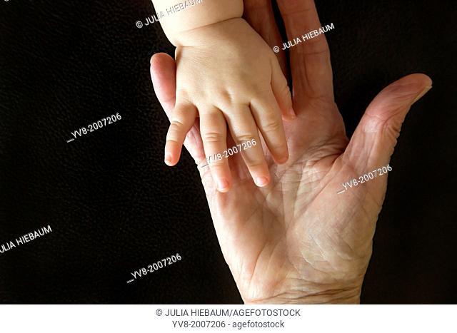 Hands of grandmother and grandchild