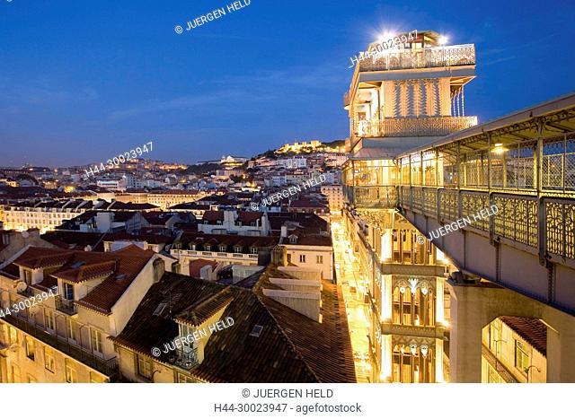 Portugal, Lisbon, Portugal, Lisbon, Portugal, View from Elevator Santa Justa towords Castelo de Sao Jorge at twilight, | Lissabon Ausblick vom Elevator Santa...