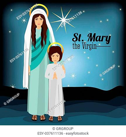 Holy Family design over blue background, vector illustration