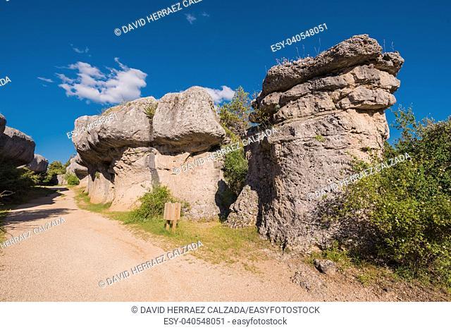 La Ciudad encantada. The enchanted city natural park, group of crapicious forms limestone rocks in Cuenca, Spain