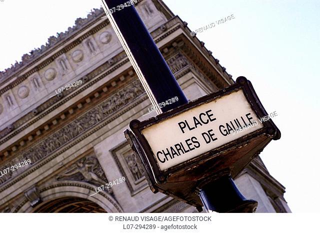 Arc de Triomphe and Place Charles de Gaulle street sign. Paris. France
