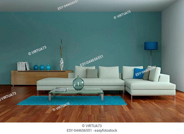 modern blue living room interior design 3d Illustration