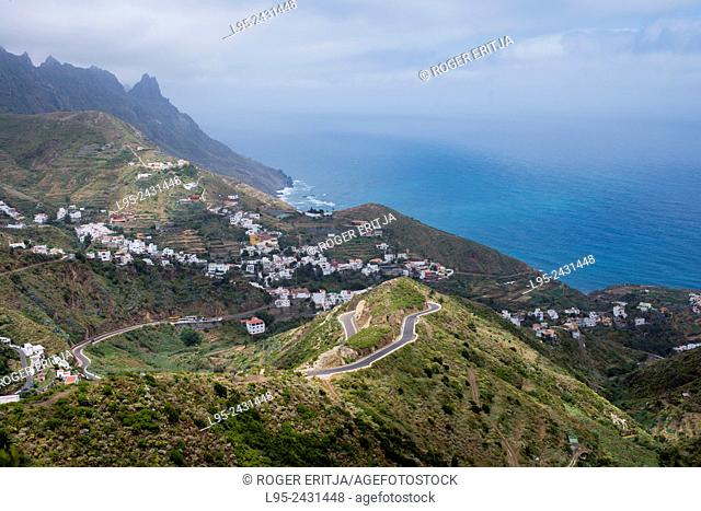 View of the fishermens village of Taganana coastal area in Northern Tenerife, Canary Islands, Spain