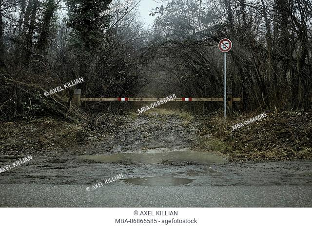 Forest way in winter, driveway, barrier, prohibitions signs, puddle, mud