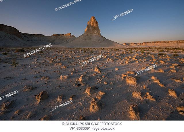 Rock formations at sunset at Boszhira at Caspian Depression desert, Aktau, Mangystau region, Kazakhstan