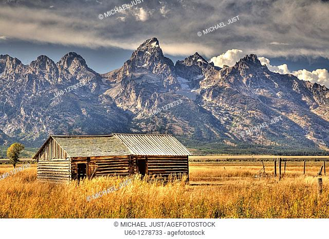 An old rustic cabin remains from Mormon settlers near Grand Teton National Park, Wyoming