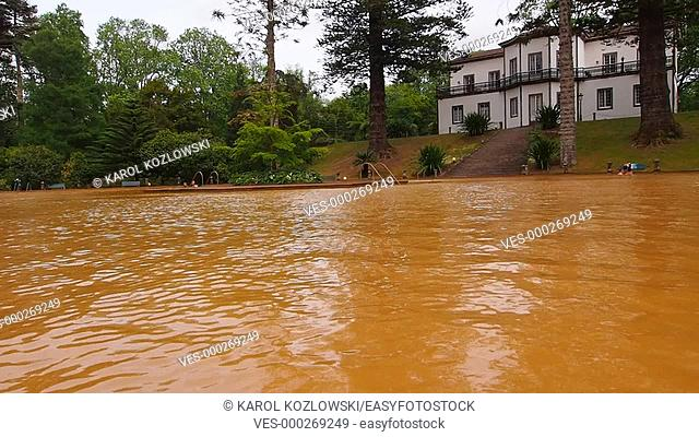 Hot Water Swimming Pool in Terra Nostra Park on Sao Miguel Island, Azores Portugal