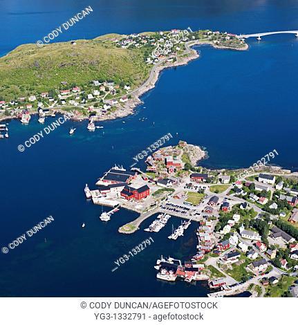 Aerial view of village of Reine, Moskenesoya, Lofoten islands, Norway