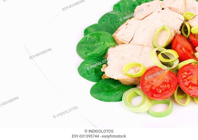 Chicken salad. Close up. Located on the white background