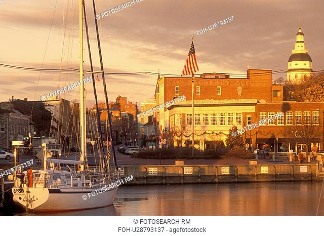 Annapolis, MD, Maryland, City Dock in downtown Annapolis at sunrise