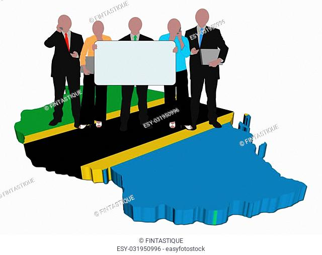 business team with sign on Tanzania map flag illustration