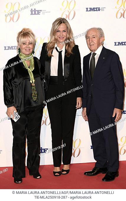 Antonella Marinelli, Nicoletta Spagnoli, Giulio Maira during red carpet of 60/90 party, for 60 years of career and ninetieth birthday of Fulvio Lucisano