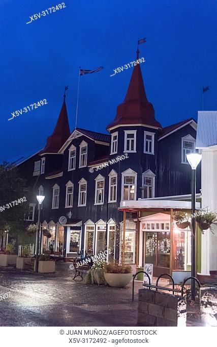 Main street of Akureyri. Northern Region. Iceland Europe
