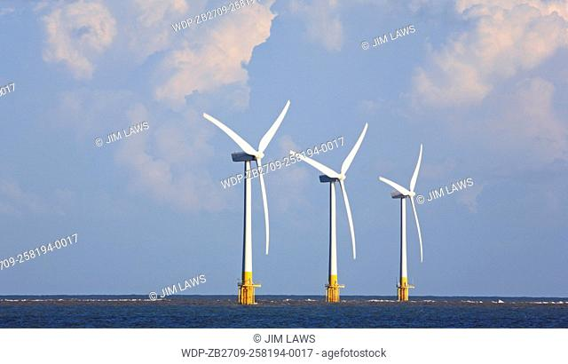 A view of three turbines on the Scroby Sands Wind Farm off the east coast at Great Yarmouth, Norfolk, England, United Kingdom