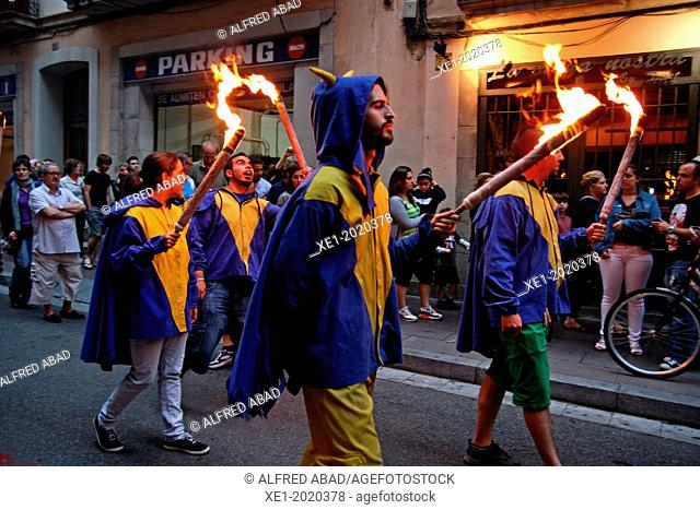 torches, Flama del Canigo 2013, Gracia neighborhood, Barcelona, Catalonia, Spain