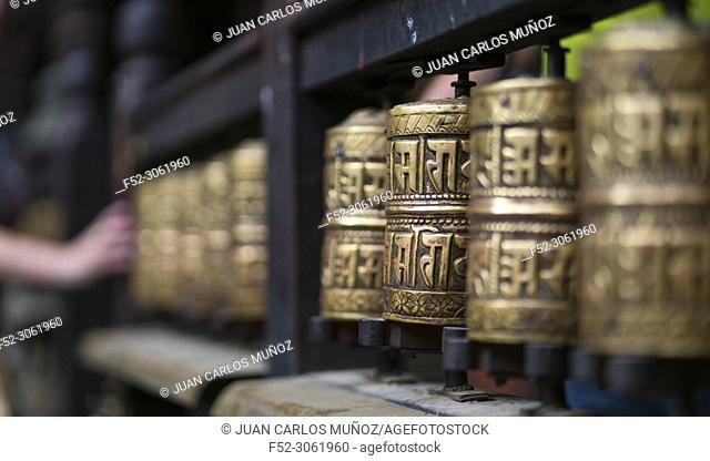 Prayer wheels, Buddhist temple, Patan, Lalitpur Metropolitan City, Kathmandu Valley, Nepal, Asia, Unesco World Heritage Site