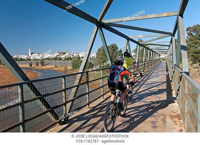 Iron bridge and river Odiel, Gibraleon, Huelva-province, Spain