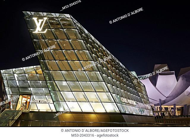 The Loius Vuitton Island Maison, a luxury shop designed by architect Peter Marino located in Marina Bay. Singapore