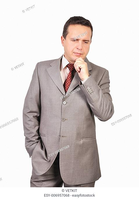 thoughtful businessman on a white background